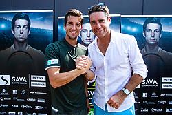 Aljaz Bedene Slovenian Tennis Player with Gregor Krusic during ATP Press conference with Aljaz Bedene, on July 25th, 2019, in Ljubljansko kopalisce Kolezija, Ljubljana, Slovenia. Photo by Grega Valancic / Sportida