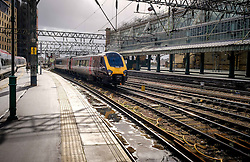 ScotRail Cross Country train arriving at Central Station in Glasgow, Scotland<br /> <br /> (c) Andrew Wilson | Edinburgh Elite media