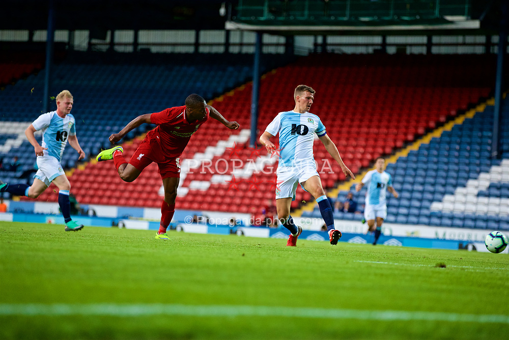 BLACKBURN, ENGLAND - Thursday, July 19, 2018: Liverpool's Daniel Sturridge scores the second goal during a preseason friendly match between Blackburn Rovers FC and Liverpool FC at Ewood Park. (Pic by Paul Greenwood/Propaganda)