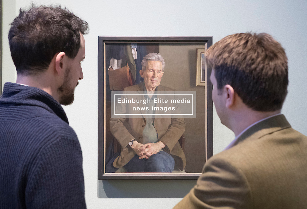 The BP Portrait Award 2016, now in its 37th year and 27th year of sponsorship by BP, is firmly established as one of the most prestigious international portrait competitions in the world and the £30,000 first prize fee is one of the largest for any global art competition. Organised by the National Portrait Gallery in London, the exhibition of the top 53 entries, travels to Edinburgh and the Scottish National Portrait Gallery this November.<br /> <br /> Pictured: Jamie Coreth (Young Persons winner) and Benjamin Sullivan (Third Prize) discussing Ben's portrait, Hugo.
