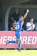 Lyle Taylor of AFC Wimbledon puts The Dons up 2-0 during the Sky Bet League 2 match between AFC Wimbledon and Hartlepool United at the Cherry Red Records Stadium, Kingston, England on 31 October 2015. Photo by Stuart Butcher.