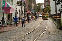 Trolly car on River Street, Savannah, Georgia, USA.