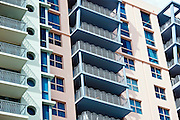 Art deco architecture, in pastel colors, high rise apartment blocks Ocean Drive, Miami South Beach, Florida USA