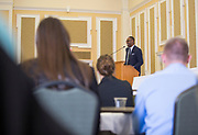 Dell Robinson, the 2017 Distinguished Alumni Award recipient, speaks after receiving the award at the Darren Butler Sports Business Forum on September 22, 2017.