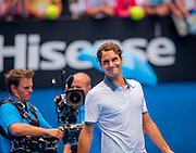 Roger Federer (SUI) faced T. Gabashvili (RUS) in Day 6 play at the Australian Open in Melbourne's HiSense Arena. Federer won over Gabashvili 6-2, 6-2, 6-3.