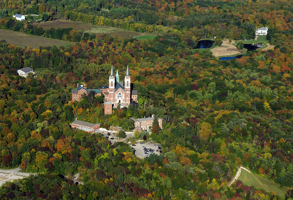 Basilica of the National Shrine of Mary Help of Christians at Holy Hill is located in the town of Erin, near Hubertus, Wisconsin.  Holy Hill is one of the highest points in southeastern Wisconsin at approximately 1, 350 feet above sea level.