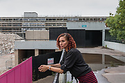 London, England, UK, May 31 2018 - Judi Bos, 49, is the last resident in her block at Aylesbury Estate,  a housing estate in Walworth, South East London. She is not willing to leave unless the council pays a proper price for her flat.<br /> Aylesbury  estate, once the largest estate in Europe, is currently undergoing a major regeneration programme by demolishing and replacing of the dwellings with modern houses controlled by a housing association. Some residents and activists still protest against the demolition and the gentrification of London.<br /> London is facing a major housing crisis, due to rising cost and under-supply.