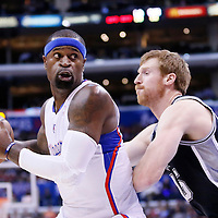 16 December 2013: Los Angeles Clippers small forward Stephen Jackson (1) posts up San Antonio Spurs power forward Matt Bonner (15) during the Los Angeles Clippers 115-92 victory over the San Antonio Spurs at the Staples Center, Los Angeles, California, USA.