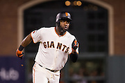 San Francisco Giants center fielder Denard Span (2) connects with a pitch for a triple against the Chicago Cubs during Game 3 of the NLDS at AT&T Park in San Francisco, Calif., on October 10, 2016. (Stan Olszewski/Special to S.F. Examiner)