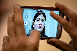 © Licensed to London News Pictures. 15/01/2020. London, UK. A journalist records a video of Labour Party leadership candidate Lisa Nandy as she takes questions after a speech at RSA House on the UK's place in a post-Brexit world. Photo credit: Rob Pinney/LNP