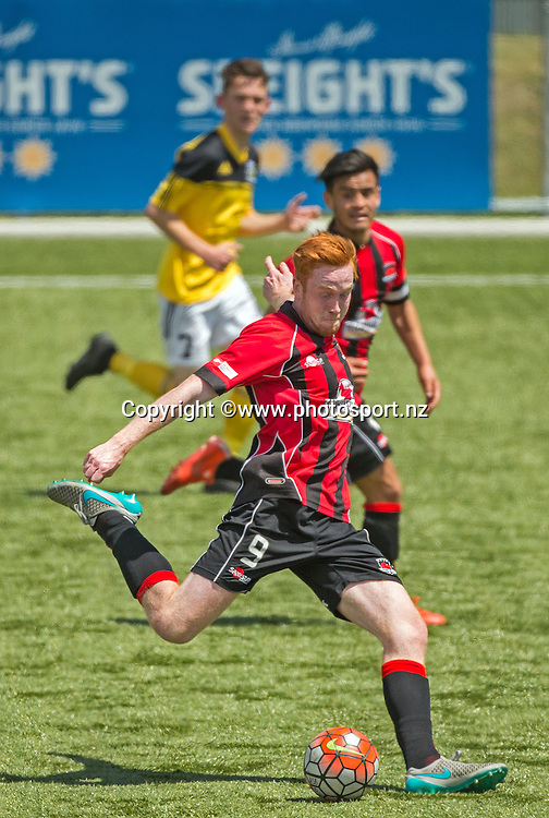 Ryan Stanley of Canterbury United with the ball during the Canterbury United Youth v Wellington Phoenix Youth football match held at ASB Football Park. 22 November 2015. Photo: Joseph Johnson / www.photosport.nz
