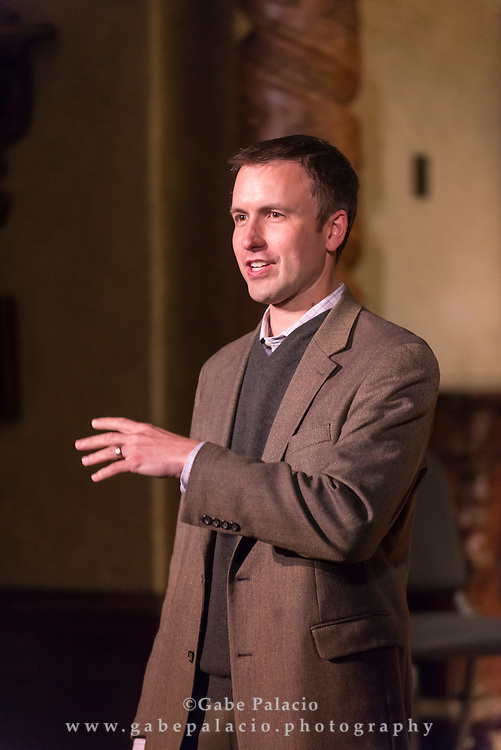 Jeff Haydon making introductions for Evnin Rising Stars at Caramoor in Katonah New York on October 21, 2014. <br /> (photo by Gabe Palacio)