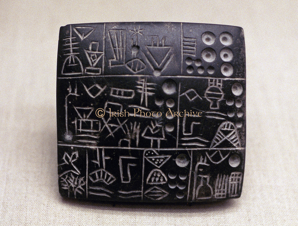 Administrative tablet of clay: Mesopotamian/Sumerian 3100-2900 BC.