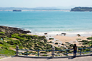 SANTANDER, SPAIN - April 19 2018 -  Person walking dog along Playa de Los Molinucos beach with view of Mouro Island and Magdalena Peninsula, Santander, Northern Spain, Europe.