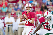 PALO ALTO, CA -  SEPTEMBER 4:  Josh Nunes #6 of the Stanford Cardinal looks to pass during an NCAA football game against Sacramento State University played on September 4, 2010 at Stanford Stadium in Palo Alto, California. (Photo by David Madison/Getty Images) *** Local Caption *** Josh Nunes