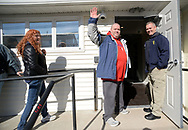 Thom Shannon waves as he is allowed in for his appointment at TerraVida Holistic Center, which is one of the first medical marijuana dispensary's in Pennsylvania to open Saturday, February 17, 2018 in Sellersville, Pennsylvania. (WILLIAM THOMAS CAIN / For The Inquirer)