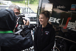 Tayler Wiles (USA) of Trek-Segafredo gives an interview before Stage 3 of 2019 Emakumeen Bira, a 98 km road race from Murgia to Santa Teodosia, Spain on May 24, 2019. Photo by Balint Hamvas/velofocus.com