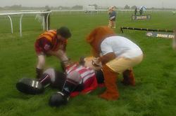 CAPTAIN BLADE, (Sheffield Utd) is knocked to the floor, John Smiths Mascot Grand National, Huntingdon Racecourse Sunday 5th October 2008