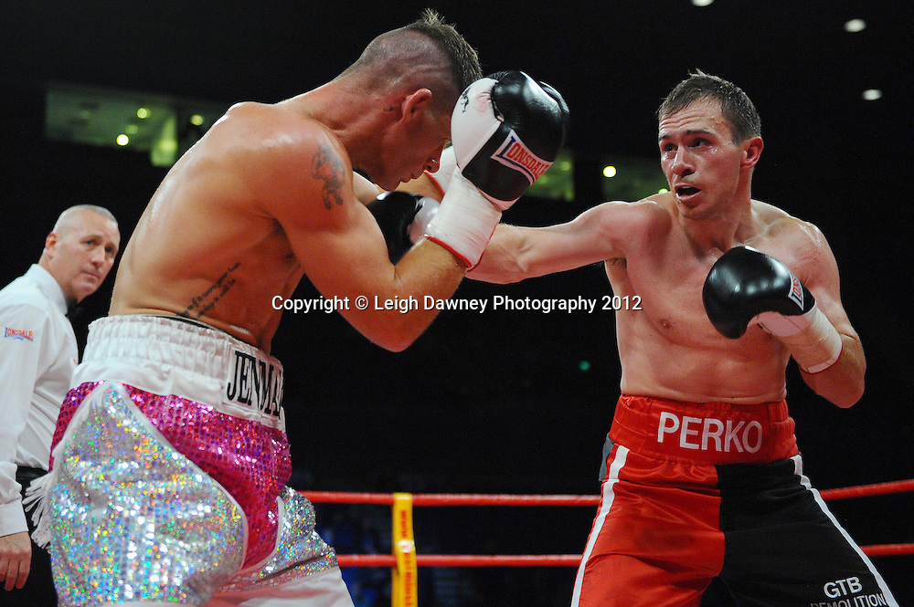 Neil Perkins defeats Nicky Jenman in a Middleweight contest at the Echo Arena, Liverpool on 13th October 2012. Frank Maloney Promotions © Leigh Dawney Photography 2012.