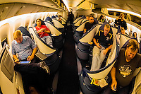 Passengers in the Business Elite cabin aboard a Delta Airlines Boeing 777-200LR settle in for the 17 hour flight from Johannesburg, South Africa to Atlanta, Georgia  (the second longest nonstop flight in the world).