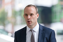 © Licensed to London News Pictures. 22/07/2018. London, UK.  Dominic Raab, Secretary of state for exiting the EU arrives at BBC Broadcasting House to appear for an interview on the Andrew Marr show.  Photo credit: Vickie Flores/LNP