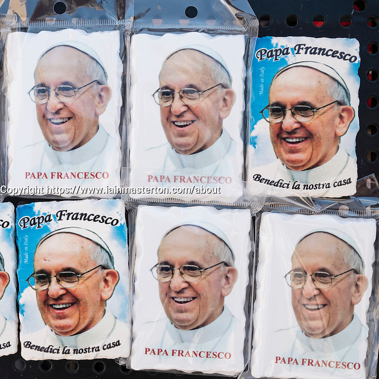 Fridge magnet souvenirs with image of Pope Francis for for sale in Vatican City in Rome Italy,