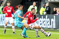 ALKMAAR - 11-12-2016, AZ -  Feyenoord, AFAS Stadion, AZ speler Joris van Overeem, Feyenoord speler Jens Toornstra, AZ speler Muamer Tankovic
