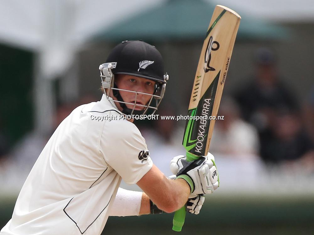 Martin Guptill in action batting. New Zealand Black Caps v Pakistan, Test Match Cricket. Day 1 at Seddon Park, Hamilton, New Zealand. Friday 7 January 2011. Photo: Andrew Cornaga/photosport.co.nz