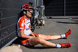 Joëlle Numainville recovers after a tough day in Flanders - Women's Ronde van Vlaanderen 2016. A 141km road race starting and finishing in Oudenaarde, Belgium on April 3rd 2016.