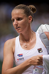 LONDON, ENGLAND - Friday, July 5, 2019: Karolina Pliskova (CZE) after the Ladies' Singles third round match on Day Five of The Championships Wimbledon 2019 at the All England Lawn Tennis and Croquet Club. Pliskova won 6-3, 2-6, 6-4. (Pic by Kirsten Holst/Propaganda)