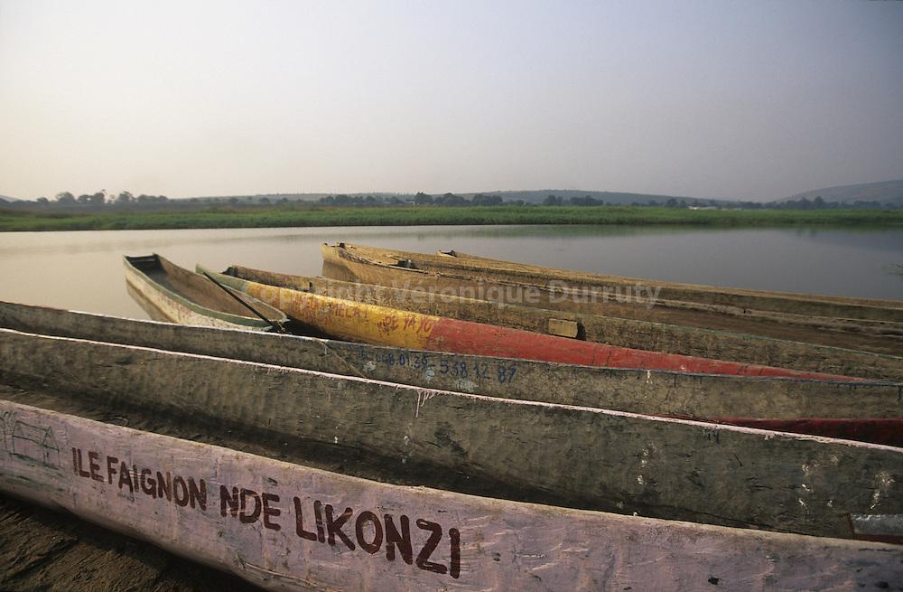 DUGOUTS ON THE CONGO RIVER, FAIGNOND ISLAND, CONGO