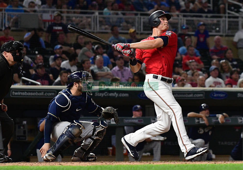 May 18, 2018 - Minneapolis, MN, U.S. - MINNEAPOLIS, MN - MAY 18: Minnesota Twins Outfield Max Kepler (26) hits a 2-run home run in the bottom of the 8th during a MLB game between the Minnesota Twins and Milwaukee Brewers on May 18, 2018 at Target Field in Minneapolis, MN. The Brewers defeated the Twins 8-3.(Photo by Nick Wosika/Icon Sportswire) (Credit Image: © Nick Wosika/Icon SMI via ZUMA Press)