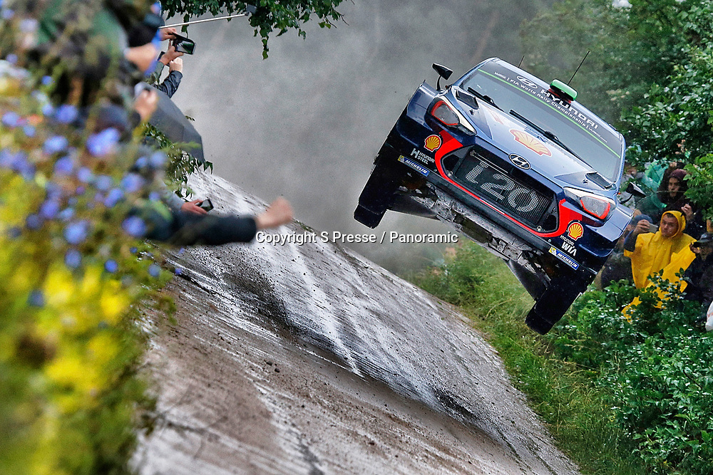 Hayden Paddon (NZL) and Sebastian Marshall (GBR) in their Hyundai I20 during Day 2 of the WRC Rally of Poland. 30 June 2017.<br /> Copyright photo: Panoramic / www.photosport.nz