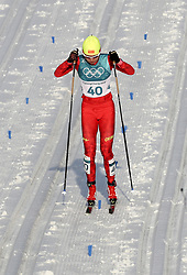PYEONGCHANG, Feb. 25, 2018  Li Xin of China competes during ladies' 30km mass start classic of cross-country skiing at the 2018 PyeongChang Winter Olympic Games at Alpensia Cross-Country Skiing Centre, PyeongChang, South Korea, Feb. 25, 2018. Li Xin got the 37th place in a time of 1:38:04.9. (Credit Image: © Li Gang/Xinhua via ZUMA Wire)