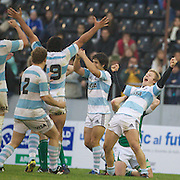 Brian Ormson, Argentina (right) celebrates with team mates after a close victory over Ireland during the Argentina V Ireland group stage match at Estadio El Coloso del Parque, Rosario, Argentina, during the IRB Junior World Championships. 13th June 2010. Photo Tim Clayton....