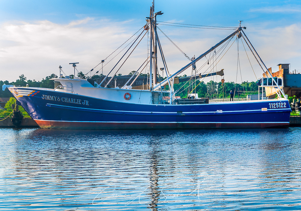 "A shrimp boat, ""Jimmy & Charlie Jr.,"" is docked in Bayou La Batre, Alabama, May 9, 2015 (Photo by Carmen K. Sisson/Cloudybright)"
