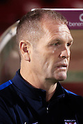 York City Manager Russell Wilcox during the Johnstone's Paint Trophy match between York City and Doncaster Rovers at Bootham Crescent, York, England on 6 October 2015. Photo by Simon Davies.