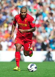 LIVERPOOL, ENGLAND - Sunday September 2, 2012: Liverpool's Glen Johnson in action against Arsenal during the Premiership match at Anfield. (Pic by David Rawcliffe/Propaganda)