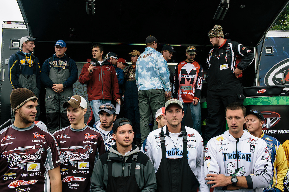 Competitors who advanced to Sunday in the fishing tournament gather for a photo during the FLW College Fishing Northern Conference Invitational in Marbury, MD on Oct. 11, 2014. Only the top 15 of 43 teams moved on to Sunday.