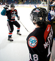 KELOWNA, CANADA, OCTOBER 11:  Mitchell Chapman, #5 of the Kelowna Rockets heads to the dressing room after warm up as the Medicine Hat Tigers visited the Kelowna Rockets on October 11, 2011 at Prospera Place in Kelowna, British Columbia, Canada (Photo by Marissa Baecker/shootthebreeze.ca) *** Local Caption ***Mitchell Chapman;