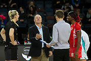 Prime Minister John Key carries out the coin toss between New Zealand`s Captain Katrina Grant (L) and England`s Captain Ama Agbeze before the Netball Quad Series New Zealand v England, Vector Arena, Auckland, New Zealand, Saturday, August 27, 2016. Copyright photo: David Rowland / www.photosport.nz