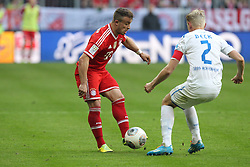 29.03.2014, Allianz Arena, Muenchen, GER, 1. FBL, FC Bayern Muenchen vs TSG 1899 Hoffenheim, 28. Runde, im Bild l-r: im Zweikampf, Aktion, mit Xherdan Shaqiri #11 (FC Bayern Muenchen) und Andreas Beck #2 (TSG 1899 Hoffenheim) // during the German Bundesliga 28th round match between FC Bayern Munich and TSG 1899 Hoffenheim at the Allianz Arena in Muenchen, Germany on 2014/03/29. EXPA Pictures © 2014, PhotoCredit: EXPA/ Eibner-Pressefoto/ Kolbert<br /> <br /> *****ATTENTION - OUT of GER*****