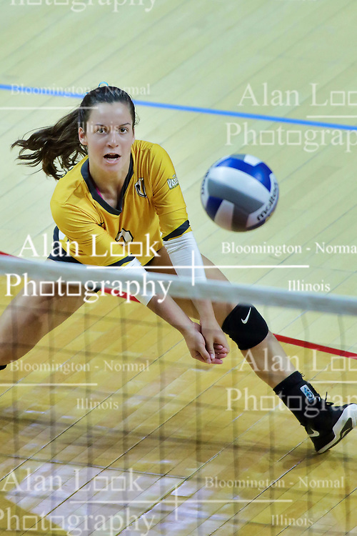 BLOOMINGTON, IL - October 12: Rylee Cookerly during a college Women's volleyball match between the ISU Redbirds and the Valparaiso Crusaders on October 12 2018 at Illinois State University in Bloomington, IL. (Photo by Alan Look)