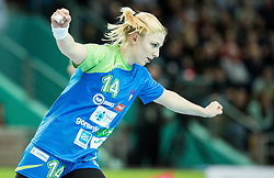 Tamara Mavsar of Slovenia celebrates during handball match between National Teams of Slovenia and Former Yugoslav republic of Macedonia in Round #3 of EHF European Women Championship Qualifications, on March 10, 2016 in Arena Luknja, Maribor, Slovenia. Photo by Vid Ponikvar / Sportida