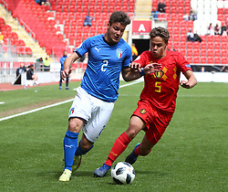 May 17, 2018 - United Kingdom - Alberto Barazzetta of Italy Under 17  takes on Loic Masscho of Belgium Under 17.during the UEFA Under-17 Championship Semi-Final match between Italy U17s against Belgium U17s at New York Stadium, Rotherham United FC, England on 17 May 2018. (Credit Image: © Kieran Galvin/NurPhoto via ZUMA Press)