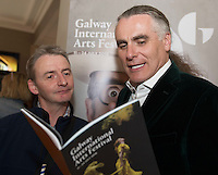 Paul Fahy, Galway International Arts Festival Artistic Director with actor Frankie McCaffferty at the launch of the Galway International Arts Festival programme. the Festival will run from the 11th to the 24th of July 2016 at the Gaslight Bar, Hotel Meyrick. Photo:Andrew Downes