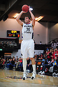 November 28, 2011; Moraga, CA, USA; Weber State Wildcats forward Darin Mahoney (30) shoots the ball during the first half of the Shamrock Office Solutions Classic championship game against the Saint Mary's Gaels at McKeon Pavilion.