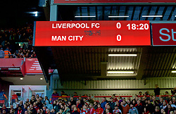 LIVERPOOL, ENGLAND - Sunday, October 7, 2018: Liverpool's scoreboard records the goal-less draw with Manchester City during the FA Premier League match between Liverpool FC and Manchester City FC at Anfield. (Pic by David Rawcliffe/Propaganda)
