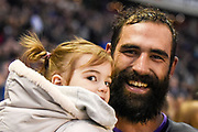 Josh Strauss with his daughter after winning the 2018 Autumn Test match between Scotland and Fiji at Murrayfield, Edinburgh, Scotland on 10 November 2018.