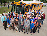 Houston ISD Transportation employees pose for a photograph, May 7, 2014, after the department was honored by The Council of the Great City Schools.